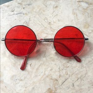 Round Circle Sunglasses - Red Lenses